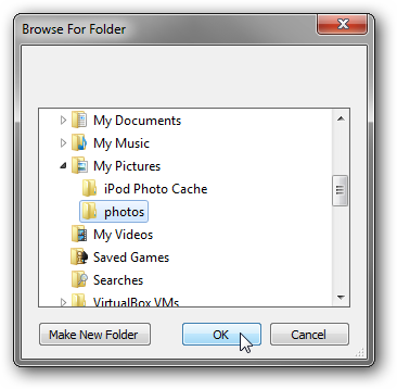 Local folder selection